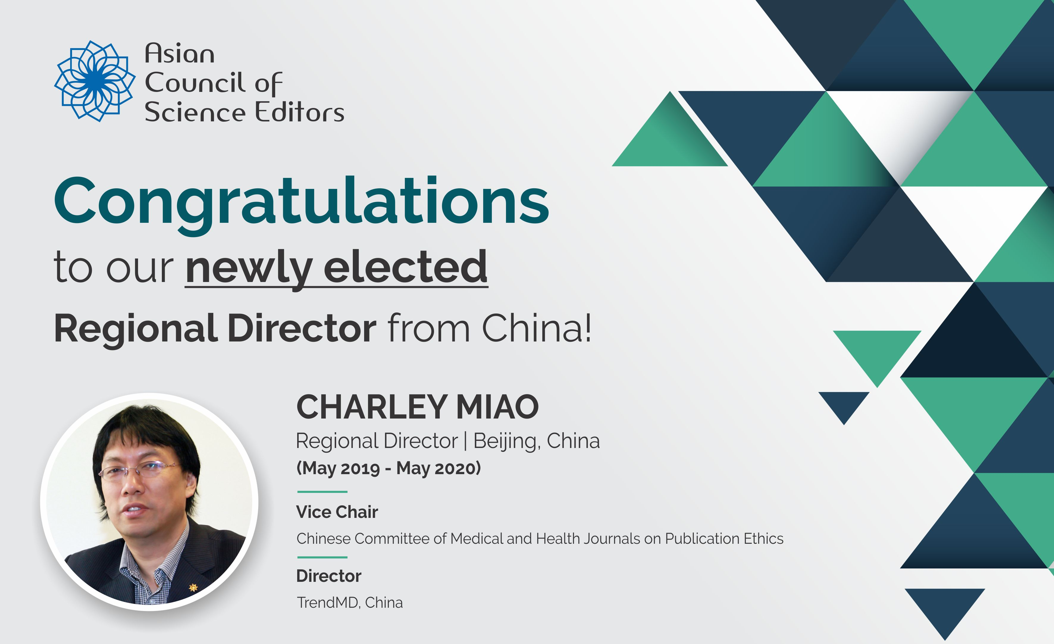 Cheerful Welcome to our newly elected Regional Director from China!